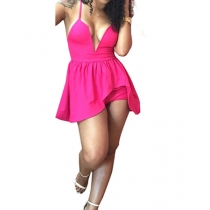Pink  Sexy deep v neck dress suit m88014