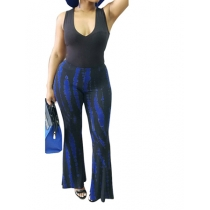 Sexy hot item  irregular print jumpsuit  m88047