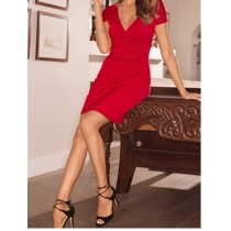 Europe and America wrinkled solid color dress m88049