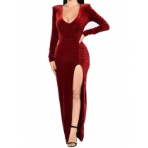 V-neck long-sleeved open candle chiffon party evening dress M88067