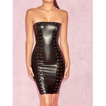 Off-shoulder Leather Bodycon Dress M7309