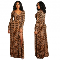 Printed deep v neck long sleeve maxi dress M8300