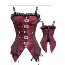 Black and Red Shoulder Straps Corset m1415