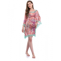 Fancy Woman Tassel Printed Sexy Dress Summer Beach Cover-Ups