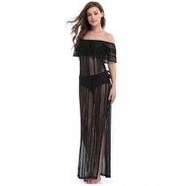 Woman Sexy See-Through Off Shoulder Summer Floor Length Beach Dresses M1028