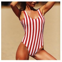 Red White Stripe Women One Piece Swimsuit With Cup ZL1806