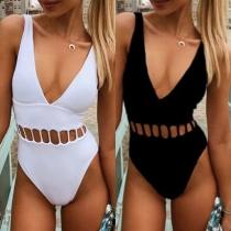 Deep V Neck Sexy Black White Women Hollow Out One Pieces Swimsuit XM1001