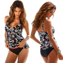 High Waist Two Pieces Tankini Swimwear Bikinis M18032