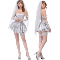 Halloween Cosplay White Bride Wedding Dress M40531