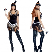 Black Sexy Tassels Indian Costume M40572