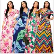 Sexy V-neck beautifully printed plus size and floor dress fashion women's clothing M8573