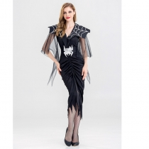 Black Spider Long Dress Halloween Cosplay Vampire Costume M40468