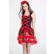 Gothic Corpse Bride Costume Fancy Cosplay Party Wear Dress M40459
