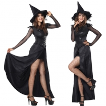 Sexy Black Halloween Witch Costume Long Dress with Hat m40391