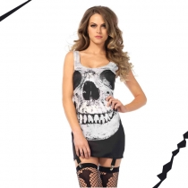 New Skeleton T-Shirt  Women Cosplay Skull Costumes M40482