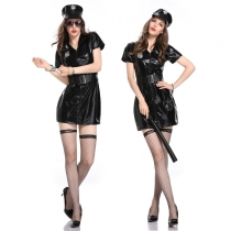 Black Leather Cop Cosplay Costume M40618