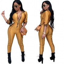 Front Zipper Sexy Rompers Womens Jumpsuit M8277