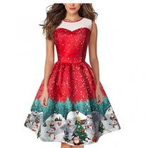 New Women Christmas Snown Printing Dress