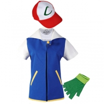 Pokemon Ash Ketchum Cosplay Costume Blue Jacket + Gloves + Hat M40513