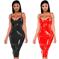 Plus Size Sexy Bodycon Leather Dresses M7302