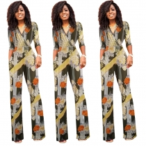 Women Half sleeves Flower Print Jumpsuit M8309