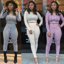 Plaid long sleeve crop top two pieces sets