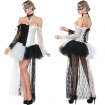 Black White Patchwork Corset With Mini Skirt M1419