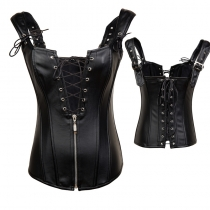 Black Faux Leather Lace Up Corset m1421