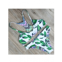Sexy double  flower print  bikini swimwear 17081