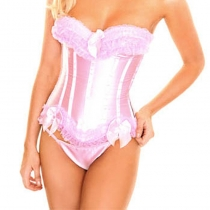 Sexy Pink Lace Trim Bow Satin Corset M1722B