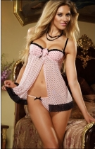 black dots cute pink babydoll m3496