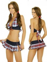 hot schoolgirl costume with red latticework pattern design suitable for cosplay M4076