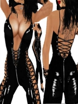 Two-way zipper woman catsuit m7199
