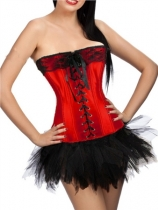 red newest corset with bubble skirt m1807C