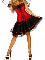 red newest corset with mini skirt m1807H
