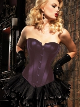 full steel boned coffee corset with skirt m1203