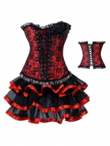 red corsage decorated jacquard corset with skirt m1976C