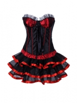 women black satin corset with pretty skirt m1202