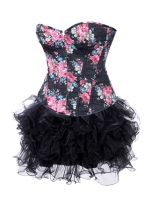 women floral corset with fluffy skirt m1995