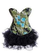 flower printed corset with layered skirt m1980