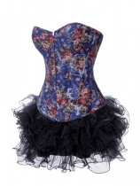 flower brocade bustier with multi-layer skirt m1977