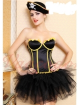 sexy black cotton corset with yellow strips m1854