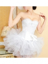 white jacquard corset with belt and bubble skirt m1826b