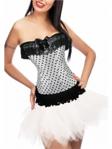 sexy white polka dot corset with bubble skirt m1808d