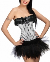 sexy white polka dot corset with bubble skirt m1808c