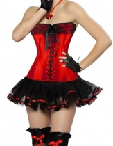 red newest corset with mini skirt m1807I