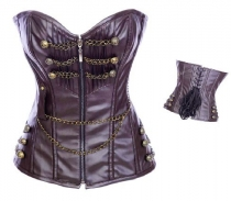 hot sale coffee leather corset m1985