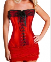 red newest corset with ruffle skirt m1807G