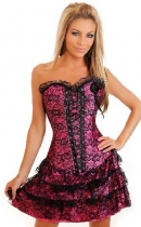rose satin embroidered lace corset with skirt m1605f