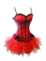sexy red satin corset with skirt m1753D